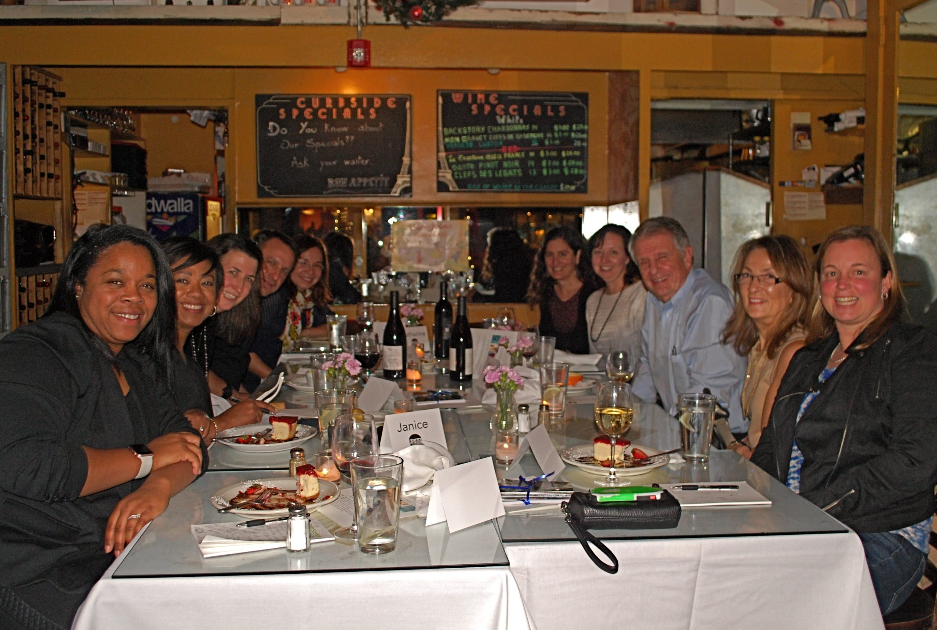 Melanie Harrison Okoro, Janice Huff, Tracey Holloway, Jon Foley, Katharine Hayhoe, Erika Marín-Spiotta, Meredith Hastings, Mike Hastings, Pam Hastings, and Chris Olex at ESWN's thought-leaders dinner