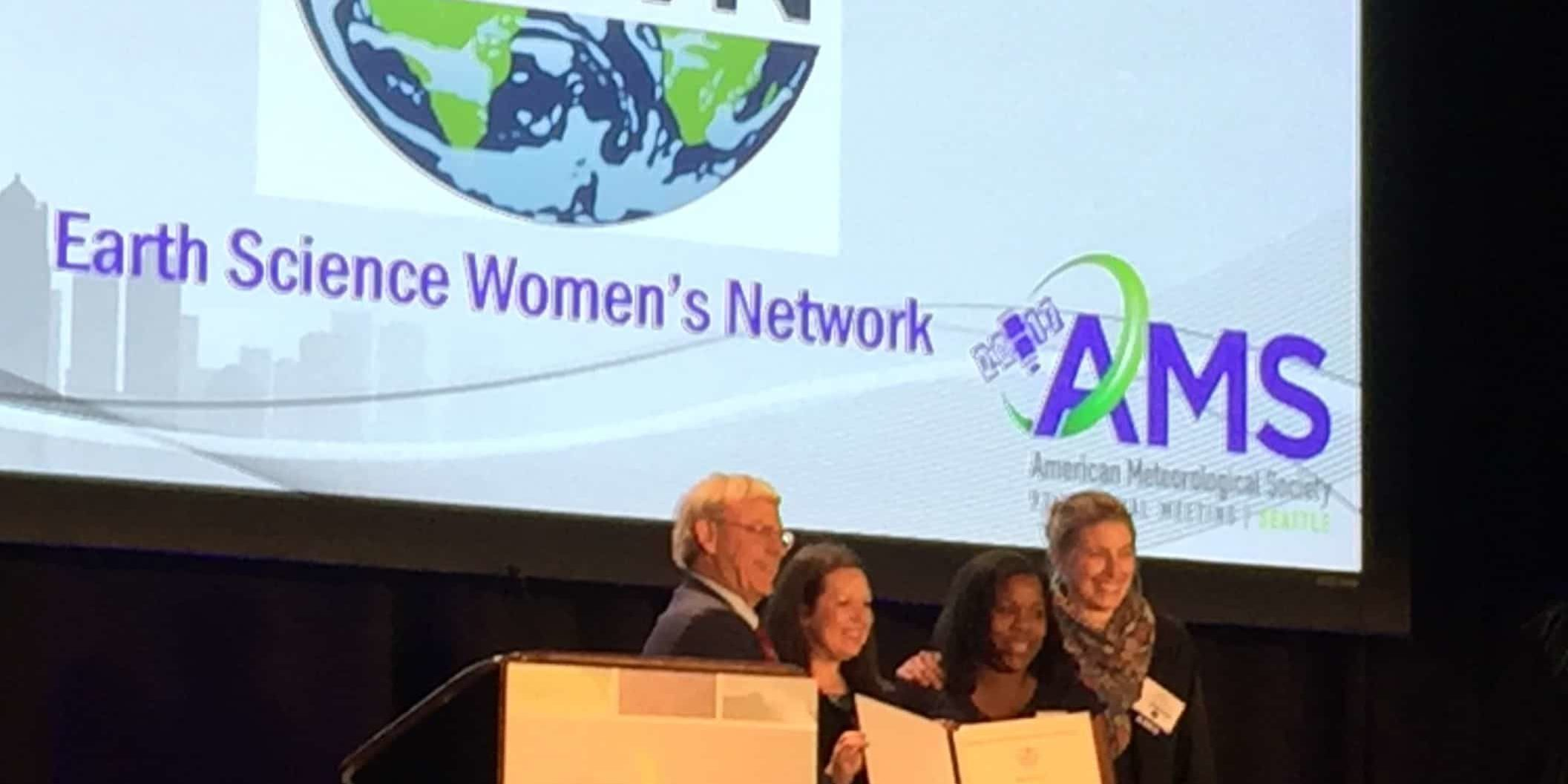 "In January of 2017, the Earth Science Women's Network received a special award from the American Meteorological Society for inspirational commitment to broadening the participation of women in the Earth sciences, providing a supportive environment for peer mentoring, and professional development. ESWN's activities ""have been shown to remove feelings of isolation and help women in the geosciences overcome barriers to professional advancement."" Thank you to the American Meteorological Society!"